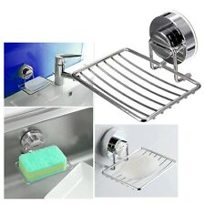 Stainless Steel Shower Cup Soap Dish Holder Tray Bathroom Kitchen Strong Suction