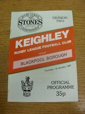 01/01/1987 Rugby League Programme: Keighley v Blackpool Borough  . Condition: We