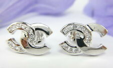 LOVELY THAI FASHION CZ STUD SMALL EARRINGS 22K 18K White Gold GP Jewelry