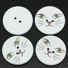 5 Wooden LARGE Cats Face Design Sewing Buttons 40mm Crafts Free UK P&P