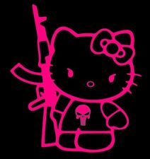Hello Kitty AR15 Punisher Funny Vinyl Decal Sticker Car 4x4.5 Hot Pink
