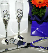 Weddind Toasting Glasses Flutes /Cake Knife Server Set- Diamante Crystal Hearts