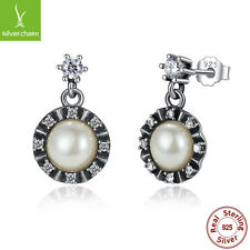 ROMANTIC 925 Sterling Silver Round White Pearl Clear Dangle Earrings For Friends