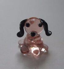 p dog puppy pink MINIATURE GLASS FIGURINE mini art blown tiny