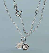 925 STERLING SILVER PAVE BLACK & CLEAR CZ EVIL EYE & HAMSA NECKLACE