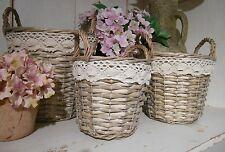 S/3 Baskets Wicker Storage Shabby Vintage Chic Lace 2 Handle Lined Plant Holder