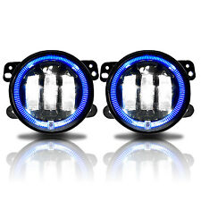 Halo Blue 2x LED Fog Lights For 07-16 Jeep Wrangler JK Front Bumper Lamp 0547941