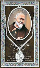 St. Padre Pio Pewter Medal on Stainless Chain NIP Catholic Faith