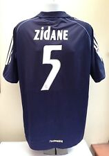 Real Madrid ZIDANE #5 05/06 Away Football Shirt Large L Soccer Jersey Blue