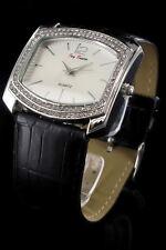 Wristwatch °° Damenuhr mit Strassbesatz und Kunstlederarmband JB010117