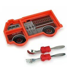 Urban Trend Kids Funwares Me Time Fire Engine / Truck Dinner Plate & Utensil Set