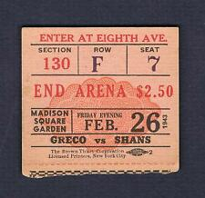 RARE 1943 Johnny Greco Cleo Shans Sal Bartolo Tousignant Manchio boxing ticket