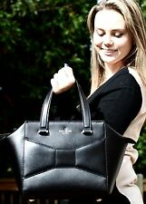 Kate Spade New York Two 2 Park Ave Small Beau Bag BLACK Leather Satchel BIG BOW