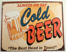 Cold Beer The Best Head In Town Vintage Detail Decor Metal Sign New #65866-2