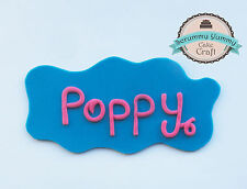 Peppa Pig plaque edible sugar decoration cake topper cupcake with name on it