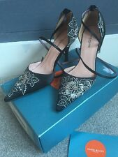 Karen Millen Black Satin Floral & Diamanté High Heel Shoes UK Size 5 - Used