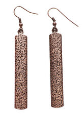 Gorgeous Slim Rustic Copper Swiggle Print & Easy Hook on Metal Earrings(Zx154)