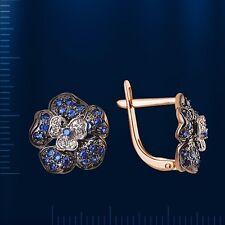 Russische Rose Rotgold 585 Ohrringe mit Brillanten & Saphire 3.98g Neu Glänzend.