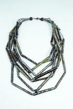 Handmade Chunky Statement Natural Coconut Wood Tubes Multi Layer Bib Necklace