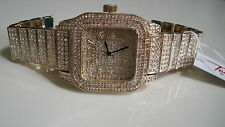 Mens big hip hop full Bling clubbing gold finish TECHNO PAVE Rapper Style watch
