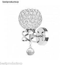 Wall Mount Light Fixture Sconce Hallway Modern Crystal Bathroom Chrome Vanity