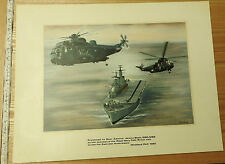 Military Watercolour Gouache Painting Aircraft Carrier Rear Admiral J.Black(3861