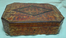 Antique Wooden Glove Box Cherub Engraved Etched Trinket Jewelry Cloth Lined VTG