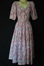 VINTAGE LAURA ASHLEY 1950s STYLE PINK ENGLISH SUMMER FLORAL TEA/DAY DRESS, 6/8