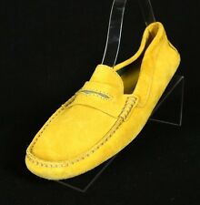 MANOLO BLAHNIK $495 Mustard Yellow Suede Moccasins Penny Loafers 40