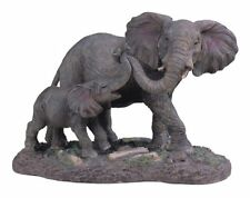 8.5 Inch Gray Elephant w/ Baby Nature Wildlife Animal Statue Collectible Wild