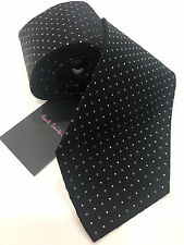 Paul Smith Black Tie with Silver Spots 100% Silk Woven Made in Italy