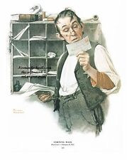 "Norman Rockwell letter carrier mailman print ""SORTING THE MAIL"" 11""x15"" postal"
