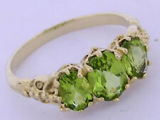 R225 Genuine 9ct Yellow Gold Natural Peridot Trilogy Ring Three-Stone size N