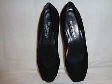 Bruno Magli Pumps Shoes Size 7.5 Black Open Toe Leather Made in Italy.