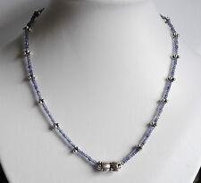 Iolith Kette mit Silber Teilen, violette Edelstein Kette facettiert