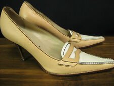 Authentic PRADA Italy Tan/White Leather Penny Loafer Pumps Heels 37.5 7.5