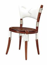 "35"" H dining chair white soft Italian leather exotic hard wood hand crafted"