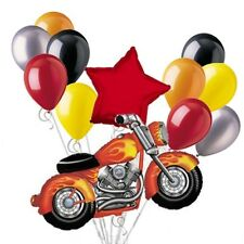 Motorcycle Balloon Bouquet Set RED Harley Snarly Birthday Party Decoration 12pc