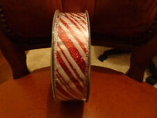 5 Metres Red/White Stripes Wire Edged Christmas Ribbon 3.8cm/1.5 in Wide.