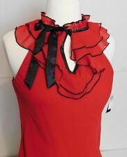 NWT New Womens Red Career Work Shirt with Bow Ruffle Detail Cut Out Size Small