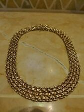 """Italy CIT 14k yellow gold 14"""" wide choker necklace multi link short 22g estate"""