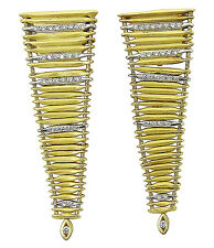 H. Stern 18k Gold Filaments Collection Diamond Pyramid Shaped Drop Earrings D382
