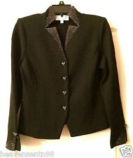 St John Evenings Jacket Heart Buttons Black Skirt Set Lot INCREDIBLE NWOT 0 2 4