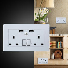 Wall Socket USB UK Plug Double Power Outlet 13 Amp Charger 2-Gang Electric Port