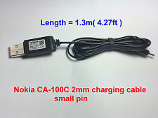 Nokia CA-100C 2mm Small Pin Charging Cable to USB Charger