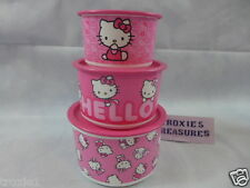 Tupperware Hello Kitty One Touch Canisters Set Lot Of 3 Pink White 2 4 & 6 C New