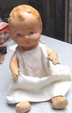 "Antique Composition Sitting Baby Doll  Jointed 11"" Sweet Face Needs TLC"