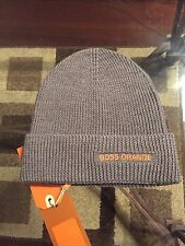 New Authentic Hugo Boss Orange Label Unisex Men BEANIE HAT Gray Wool $125