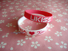 U-KISS Ukiss KPOP Support wrist band BRACELET X2 WHITE AND HOT PINK TUPE C NEW