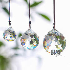 Set 3 FENG SHUI HANGING CRYSTAL BALL 50 40 30mm Prisms Rainbow Sun Catcher Clear